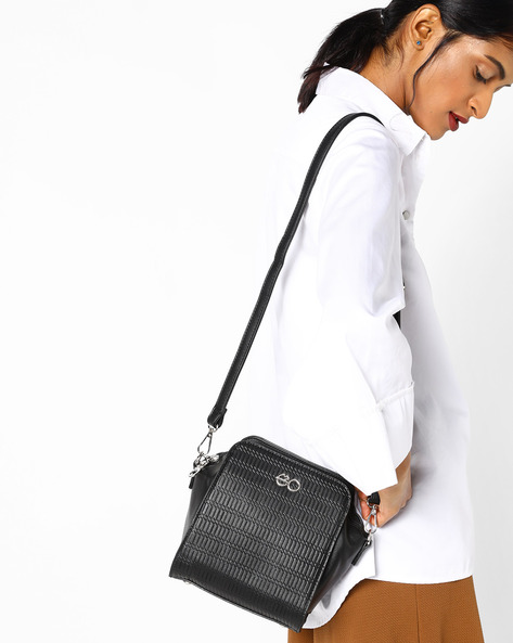 Textured Sling Bag By E2O ( Black )