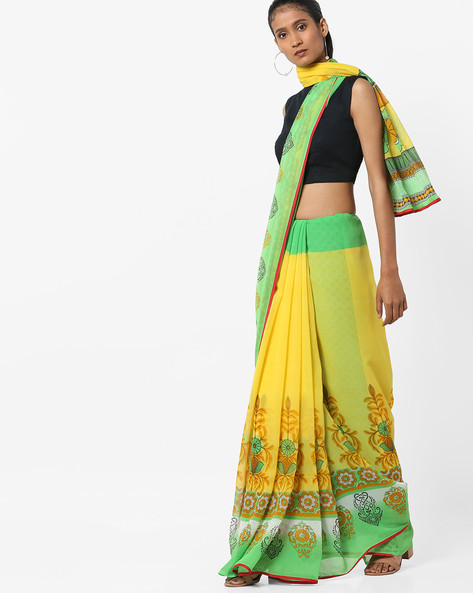 Printed Saree With Contrast Taping By Florence ( Green )