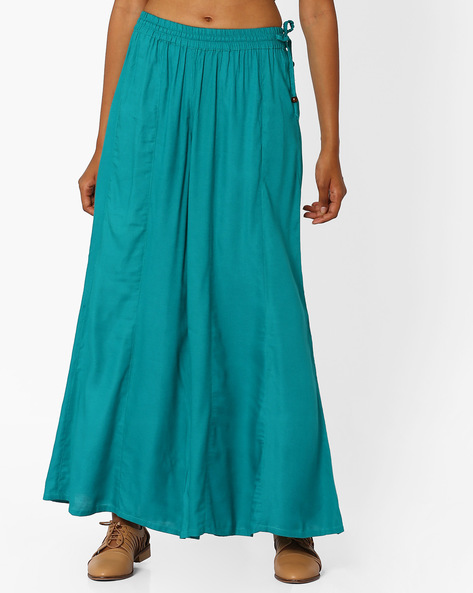 Palazzo Pants With Tassel Tie-Up By Khimsariya ( Teal )