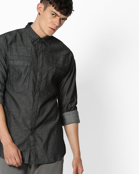 Classic Shirt With Patch Pockets By Blue Saint ( Black )