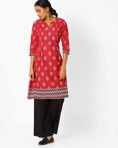 Printed A-line Kurta With Contrast Hems By AVAASA MIX N' MATCH ( Red )