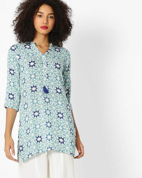 Floral Print Kurti With Tassels By AVAASA MIX N' MATCH ( Blue )