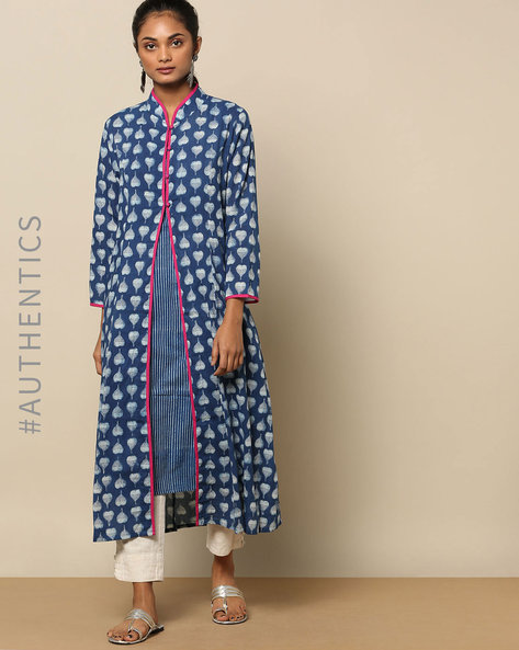 Indigo Handblock Print Cotton Kurta With Detachable Slip By Indie Picks ( Indigo )