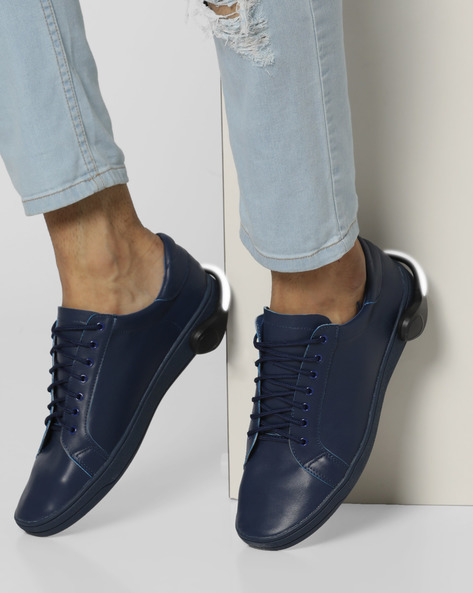 Lace-Up Sneakers With Detachable LED Bands By AJIO ( Blue )