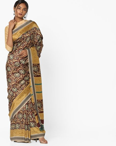 Printed Saree With Contrast Border By Pihu ( Brown )