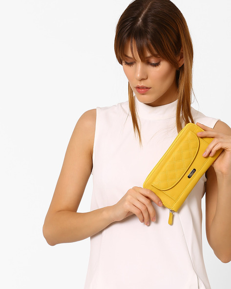 Zippered Wallet With Flap-Front Pocket By Lavie ( Yellow )
