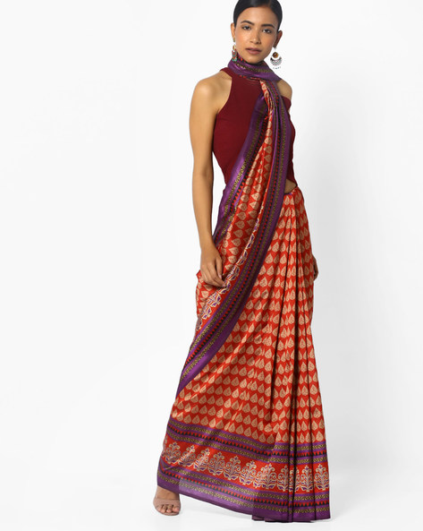 Printed Saree With Contrast Border By Florence ( Purple )