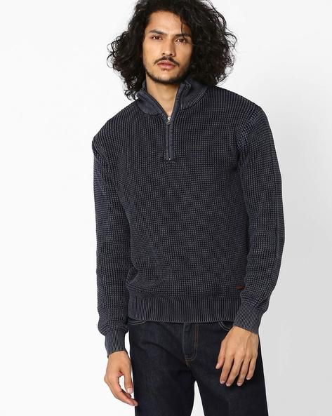 Structured Fit High-Neck Sweater By AJIO ( Navy )