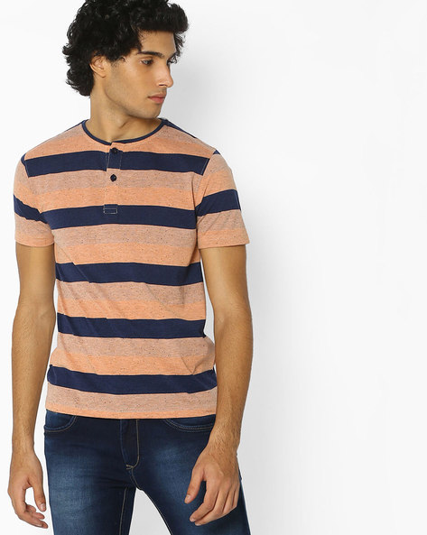 Striped Henley Cotton T-shirt By Fort Collins ( Multicolour ) - 460077133003
