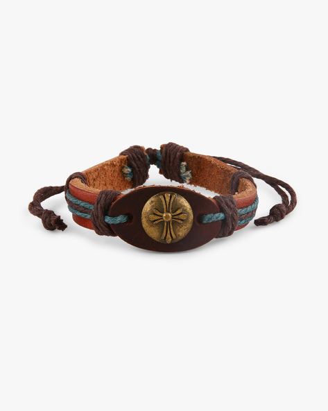 Faux Leather Bracelet With Metallic Accent By ALPHA MAN ( Blue )