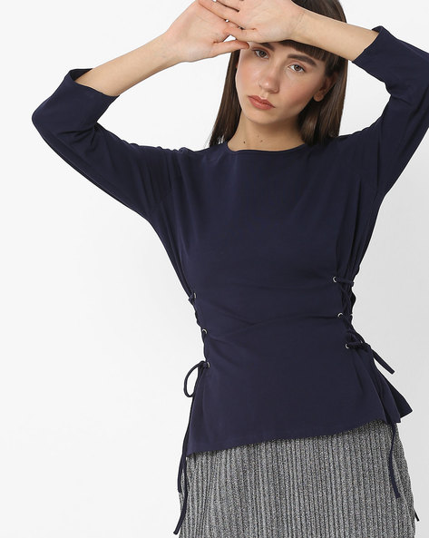 Top With Criss-Cross Tie-Ups By Femella ( Navy )