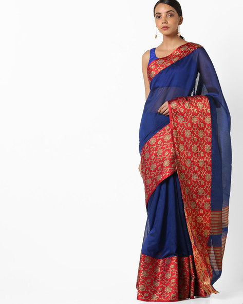 Banarasi Woven Saree With Contrast Border By Parmita ( Blue ) - 460130850001