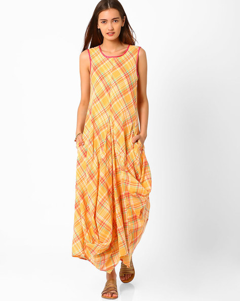 Printed Maxi Dress By Biba ( Yellow )