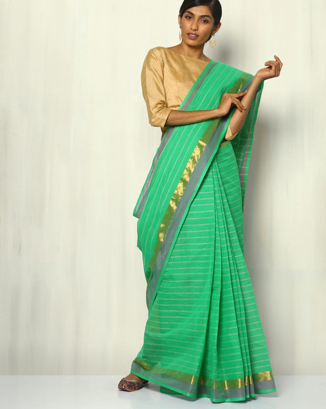 South Cotton Striped Saree With Zari Border By Indie Picks ( Aqua )