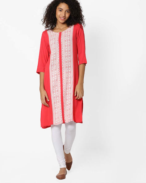Straight Kurta With Printed Panel By AVAASA MIX N' MATCH ( Peach )