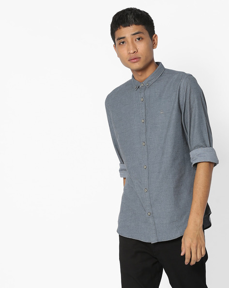 Slim Fit Shirt With Button-Down Collar By UNITED COLORS OF BENETTON ( Grey )
