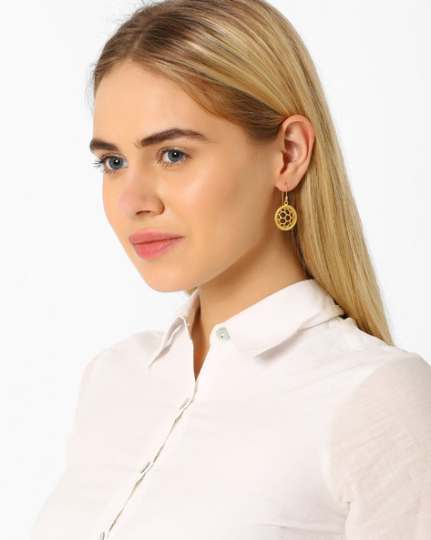 Matte Gold-Plated Jaali Earrings By AJIO ( Gold )