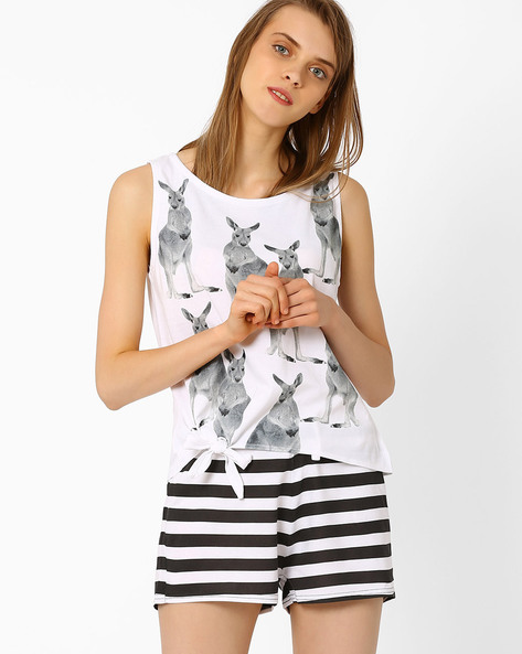 Printed Cotton Lounge Top By AJIO ( White )