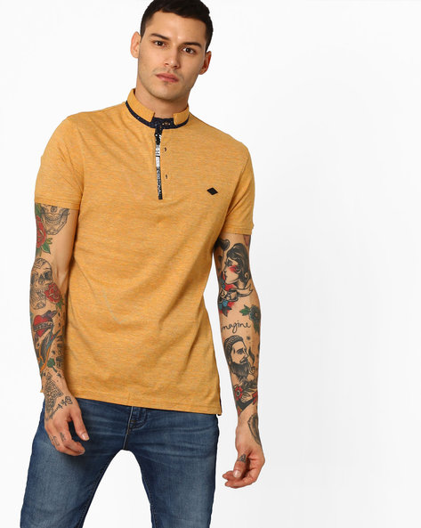 Front-Zip Collared Cotton T-shirt By Fort Collins ( Mustard )