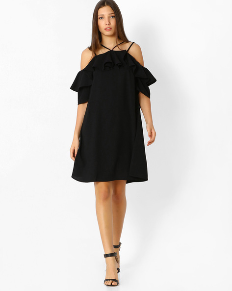 Cold-Shoulder Dress With Ruffle Detail By Femella ( Black )