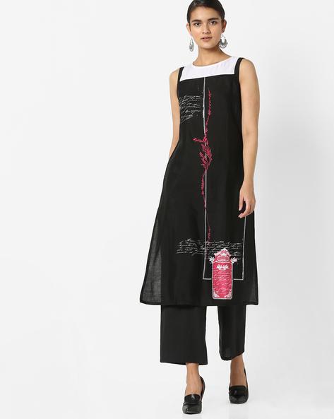 Printed Sleeveless Kurta By Rangmanch By Pantaloons ( Black )