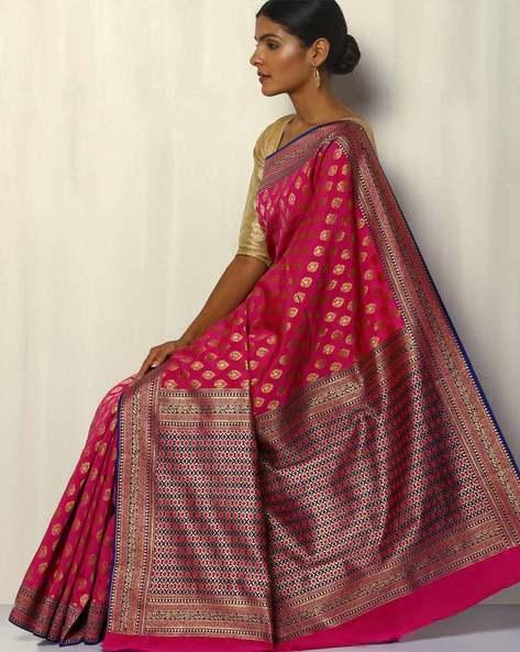 South Silk Thousand Buta Saree With Zari Border By Pretty Woman ( Fuchsia )