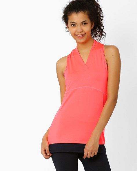 Tank Top With Contrast Hemline By AJIO ( Pink )