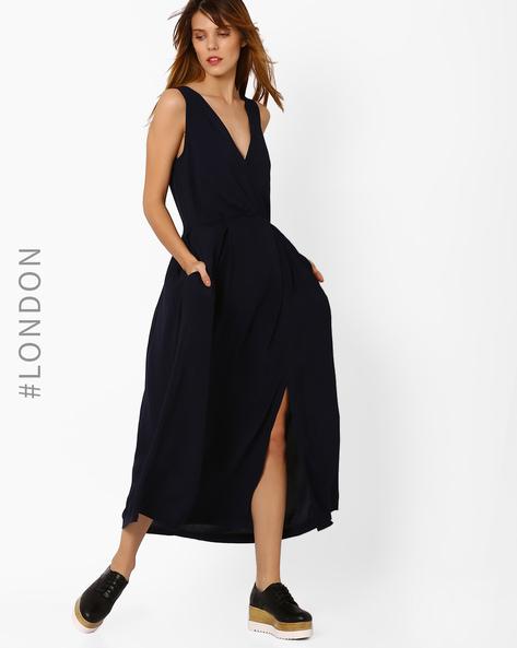 Sleeveless V-neck Maxi Dress By Closet London ( Navyblue )