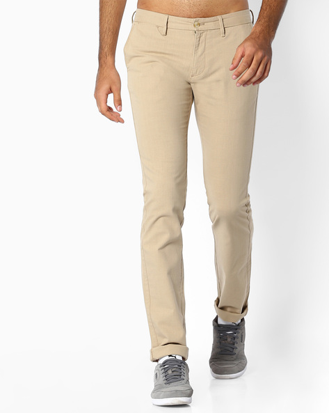 Flat-Front Slim Fit Trousers By INDIAN TERRAIN ( Khaki ) - 460060972021