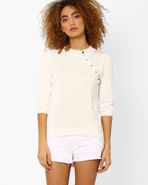 Knitted Top With Slant Button Placket By Vero Moda ( White )