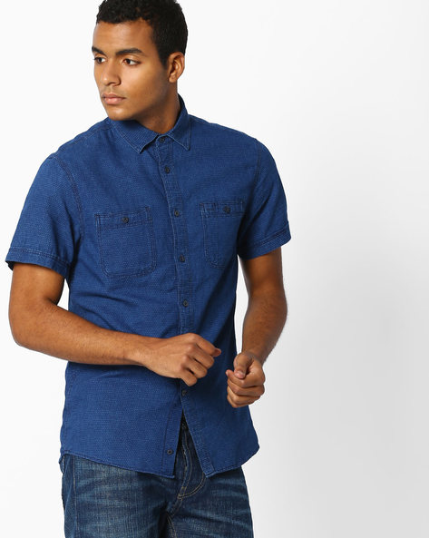 Printed Slim Fit Shirt With Patch Pockets By Celio ( Indigo )