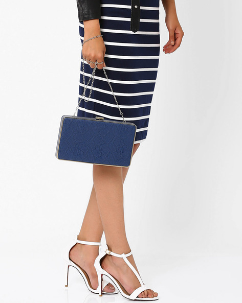 Lynsey Box Clutch With Detachable Strap By Carlton London ( Blue )