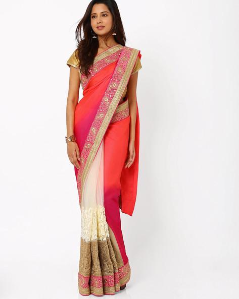 Mysore Silk Half & Half Saree By Viva N Diva ( Pink )