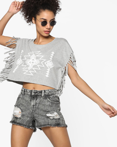 Crop Top With Fringes By Ginger By Lifestyle ( Grey )