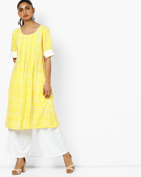 Printed A-line Kurta With Pin Tucks By AJIO ( Yellow )