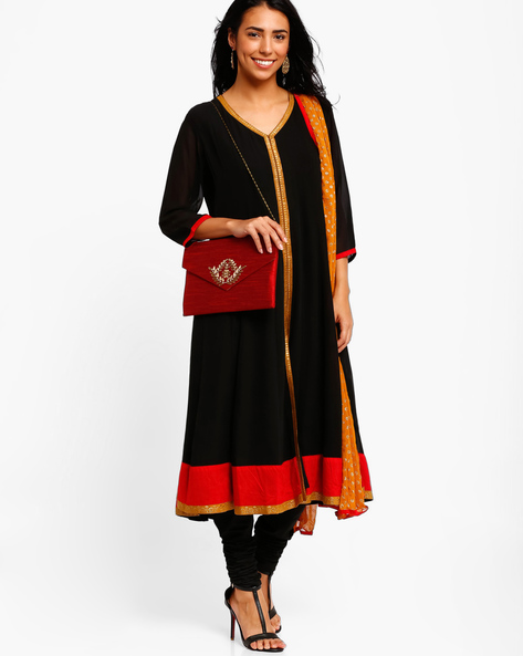 Anarkali Churidar Kurta With Dupatta By AJIO ( Black ) - 460001592006