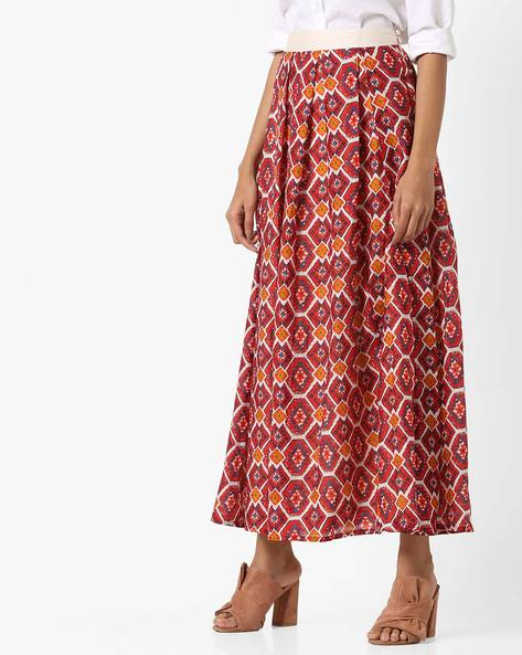 Printed Maxi Skirt With Pleats By AJIO ( Red )