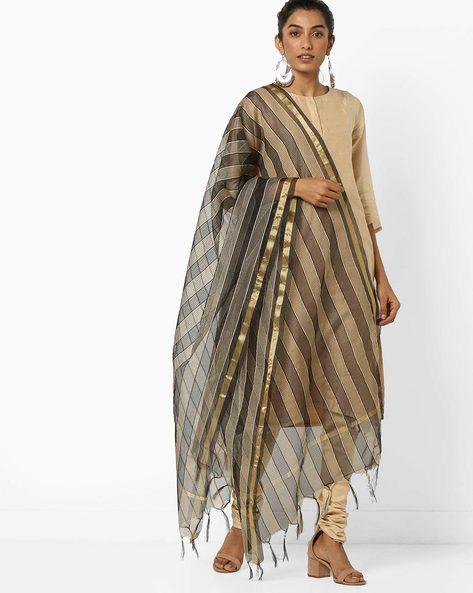 Striped Dupatta With Tassels By Dupatta Bazaar ( Black )