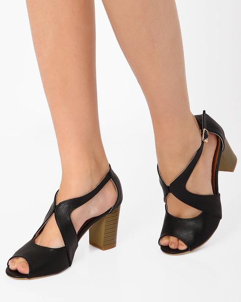 Strappy Chunky Heels By MFT Couture ( Black )