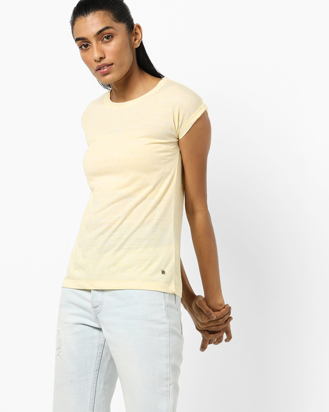 Heathered Crew-Neck T-shirt By Pepe Jeans ( Yellow )