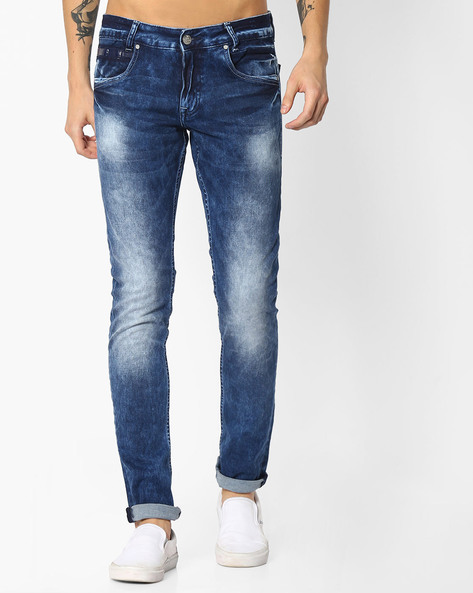 Lightly Washed Skinny Jeans By MUFTI ( Blue )