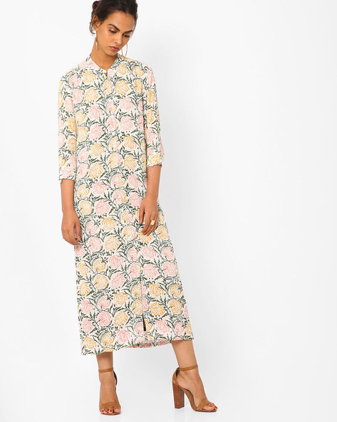 Floral Print Maxi Shirt Dress By Vajor ( White )