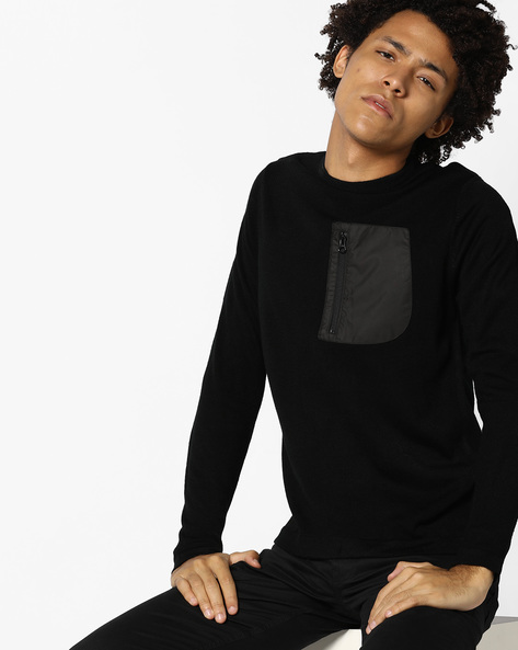 Crew-Neck Sweater With Chest Pocket By WRANGLER ( Black )