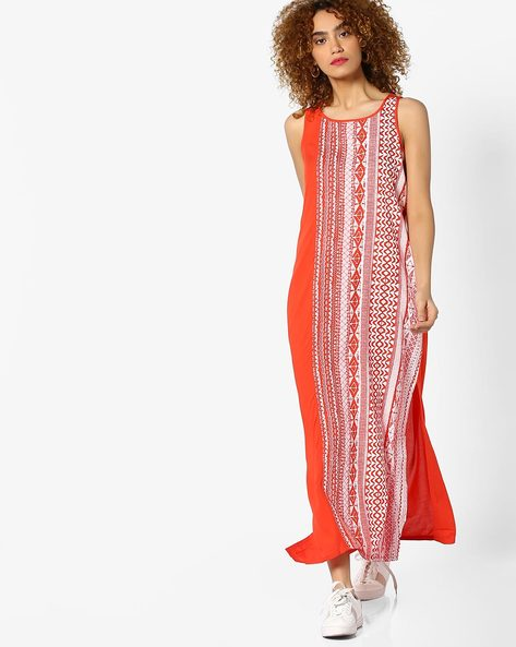 Sleeveless Maxi Dress With Slits By Global Desi ( Orange )