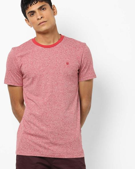 Crew-Neck T-shirt With Grindle Effect By UNITED COLORS OF BENETTON ( Red )