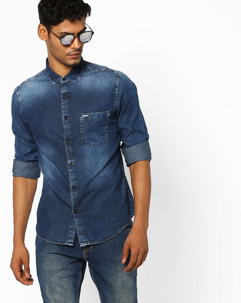 Slim Fit Denim Shirt With Patch Pocket By AJIO ( Blue )