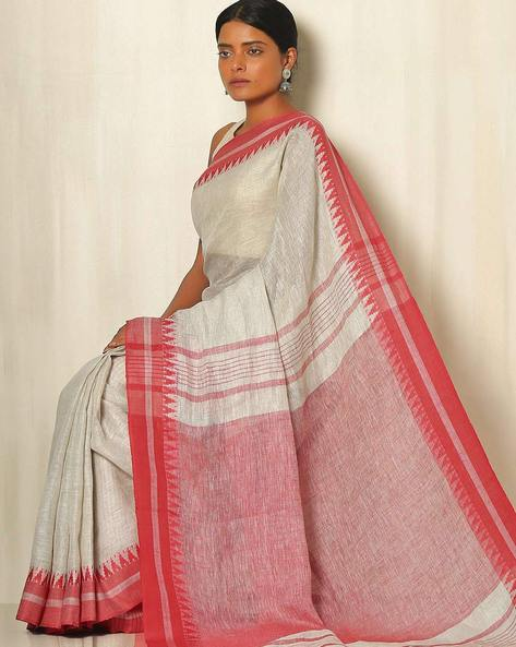Handwoven Linen Saree With Cotton Contrast Border By Indie Picks ( Ivory )