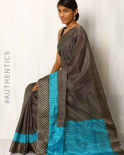 Geometric Printed Silk Saree By Rudrakaashe-MSU ( Multi )