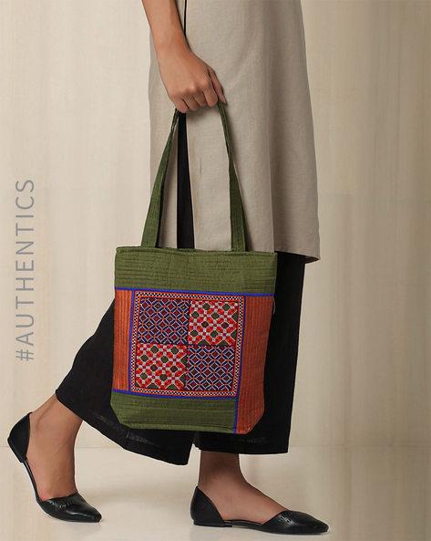 Kutch Jat Garasiya Hand Embroidery Tote Bag By Indie Picks ( Green )