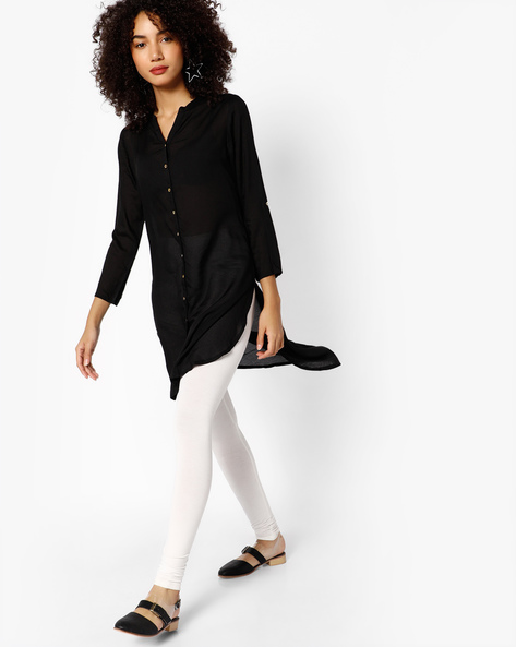 High-Low Kurta With Button Placket By Melange By Lifestyle ( Black )